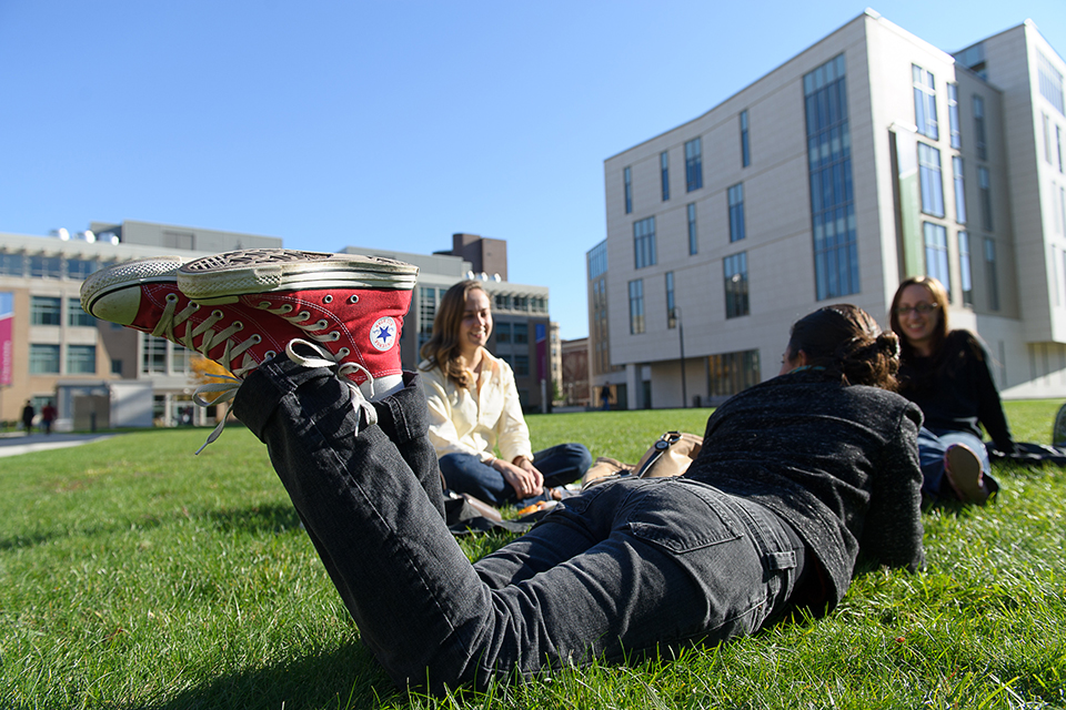 Students hanging out on the quad