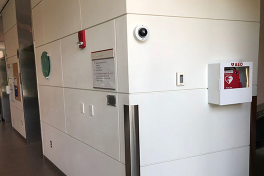 photo of AED location - Management and Academic Building, Main Lobby near quad entrance