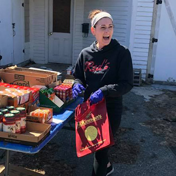 Megan McGrath collecting supplies for Red's Good Vibes