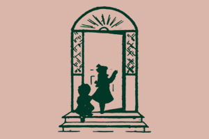 Line drawing of children walking up steps to doorway. Elizabeth Peabody House logo.