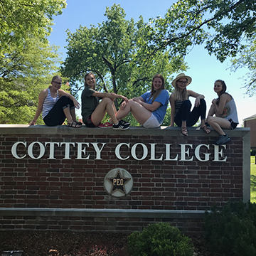 Julie Tokarowski and her friends at Cottey College