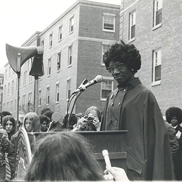 Shirley Chisholm speaking at Simmons in 1977.