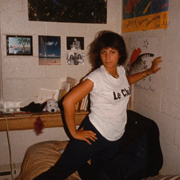 Jill Zarin in her Simmons dorm room.