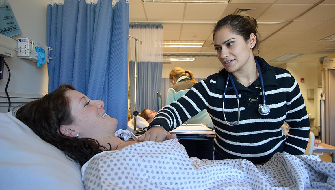 Student in the nursing simulation lab