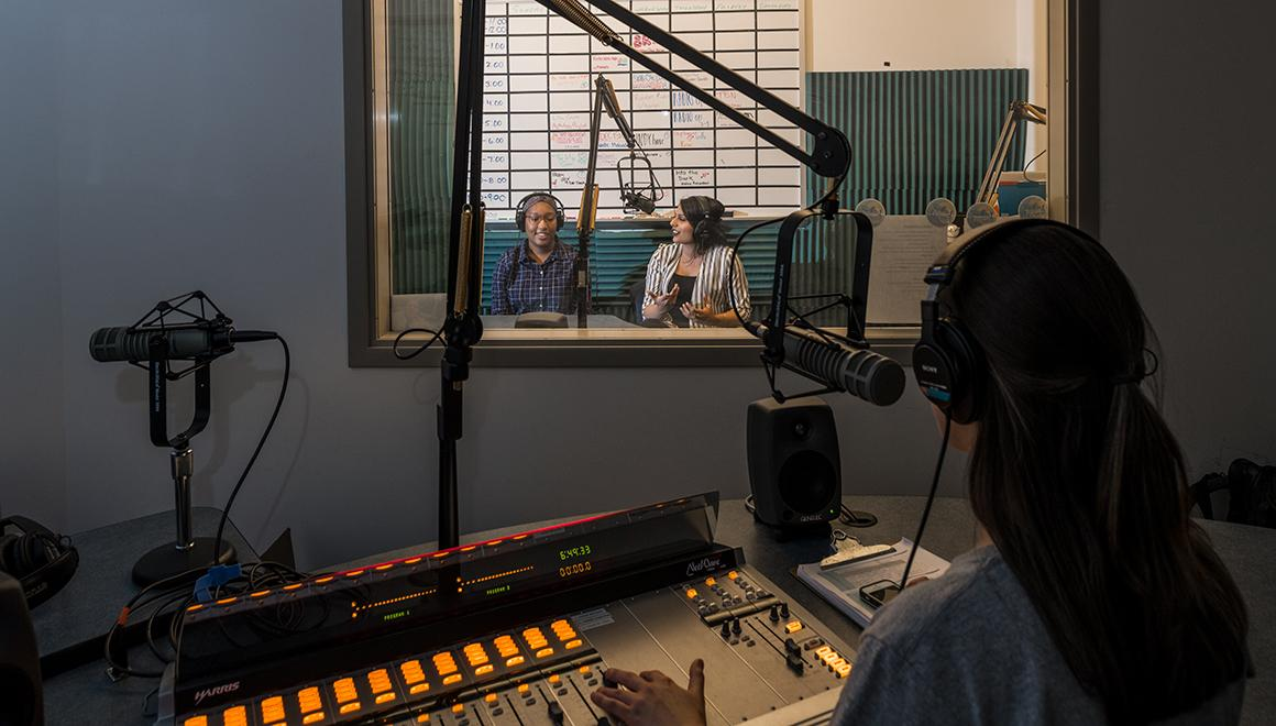 Student doing a radio show