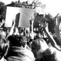 Simmons students at a protest or rally in 1969