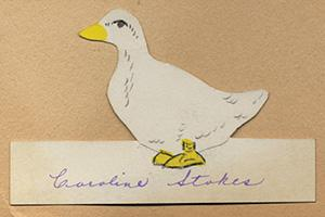 hand drawing of the 1933 mascot, a duck, signed by Caroline Stokes