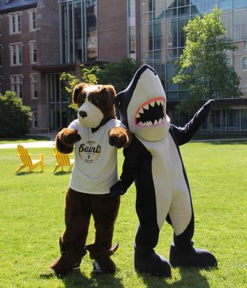 The Simmons Mascot and the Emmanuel Mascot