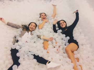 Lauren Kaye at INBOUND in a ball pit with friends