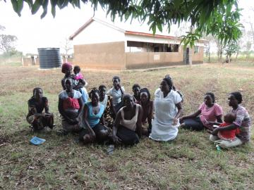 Diana Abwoye with a group in Uganda.