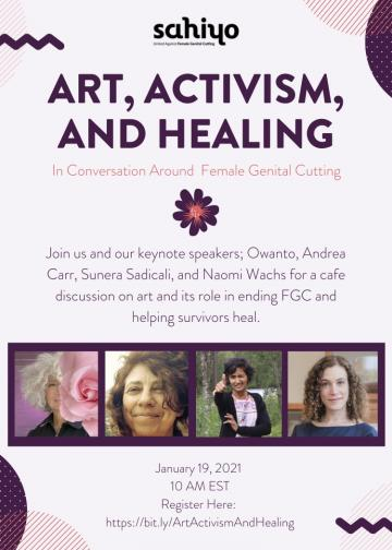 "Event poster for Sahiyo's January 19th event, ""Art, Activism & Healing"""