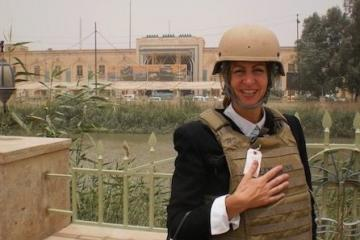 Caryn Anderson en route to training public librarians in Diwaniyah, Iraq, 2010