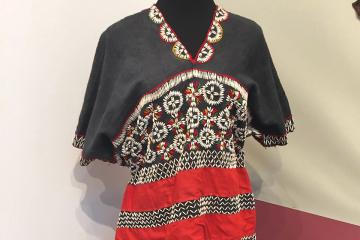 Laytu Chin tunic, or khlang im, from Myanmar is only one of several handmade pieces on display in the Trustman Art Gallery. Photo: Ellen Garnett.