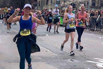 Ella Cornu running the Boston Marathon