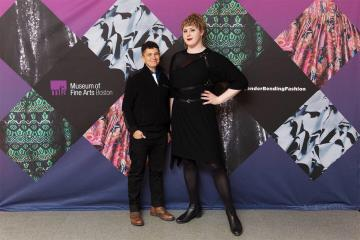 Professor Jo Trigilio and Matisse DuPont '19MA at the MFA's Gender Bending Fashion Exhibit