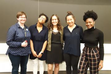 Assistant Professor Amber Stubbs, Teriyana Cohens, Michelle Medici, Peizhu Qian, and Patrice Miller.