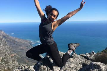 Sunnie Hodge jumping on Table Mountain