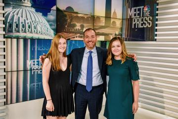Simmons student, Chuck Todd and Abby Vervaeke on the set of Meet the Press