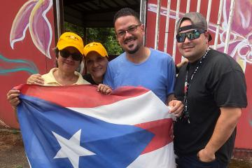 Carmen Báez (founder of PRxPR) with PRxPR grantees and Cialitos Community leaders Deborah  Colon and Hector Ortiz Figueroa - in Ciales, PR.  July 2019.