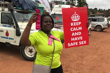 Diana Namumbejja Abwoye promoting condom use on the streets of Kampala.