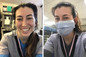 Side by side photos of Robyn Cortese with and without a mask on