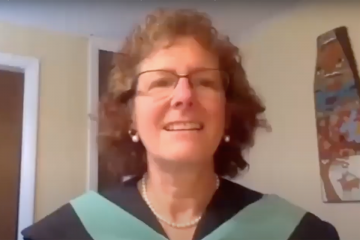 Professor Randi Lite while giving her 2020 Commencement address.