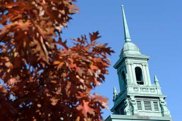 Main College Building cupola with fall leaves