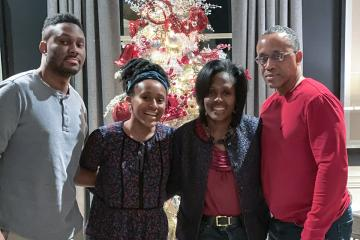 Lynn Perry Wooten with her husband, son and daughter.