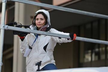 Erica Moura covering the Patriots Parade