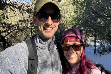 Helen Popinchalk with her husband on the trail in the Sandia Mountains outside of Albuquerque