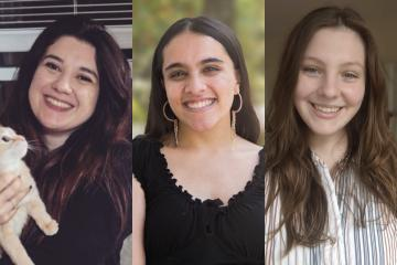 Headshots of Makayla Martorana, Saloni Kumar and Hannah Bishop