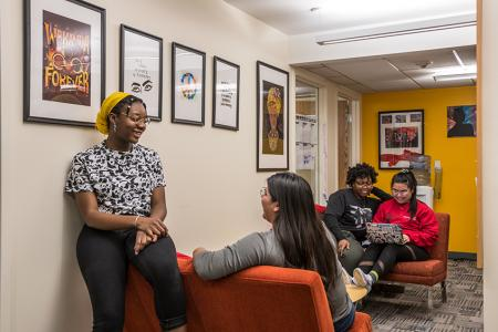 Students hanging out in the multicultural center
