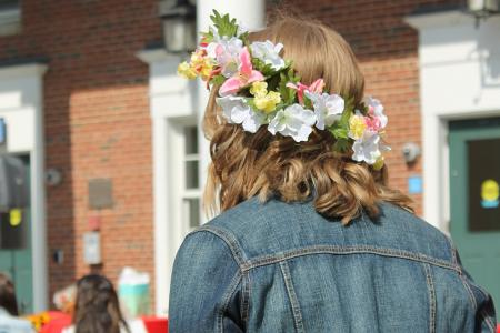 Student in a flower crown