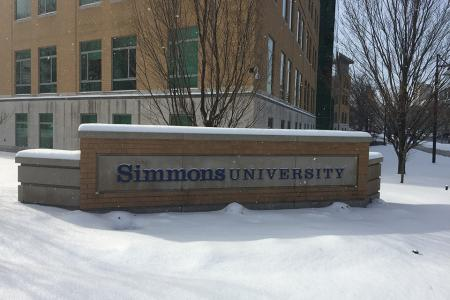 Simmons campus in the snow