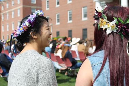 Students celebrating May Day in flower crowns