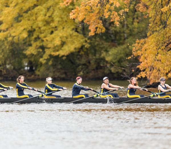 Students rowing crew on the Charles River