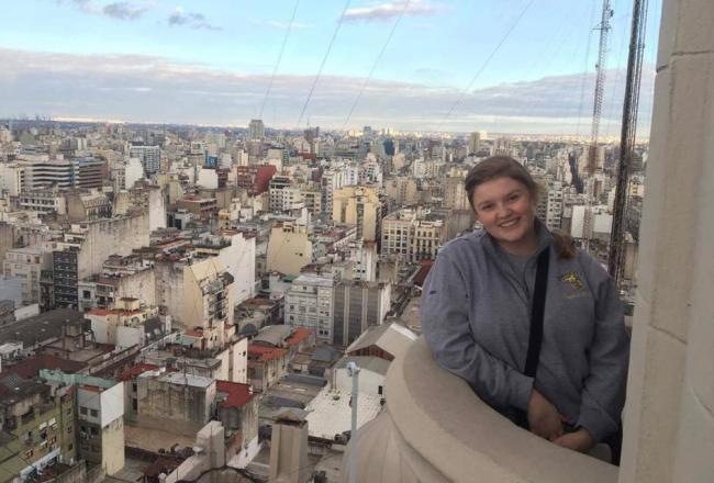 Courtney LeBlanc looking over a city while studying abroad.