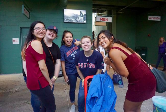 Students at Fenway Park
