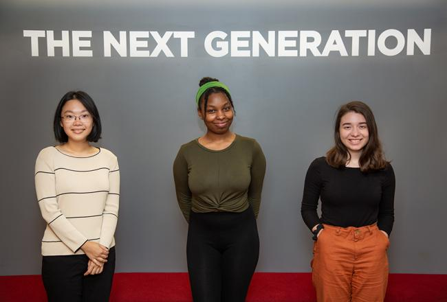 Ifill Scholarship Recipients from left: Anna Zhang '20, Autumn Ledgister-Cummins '20 and Juliana Gamba '20