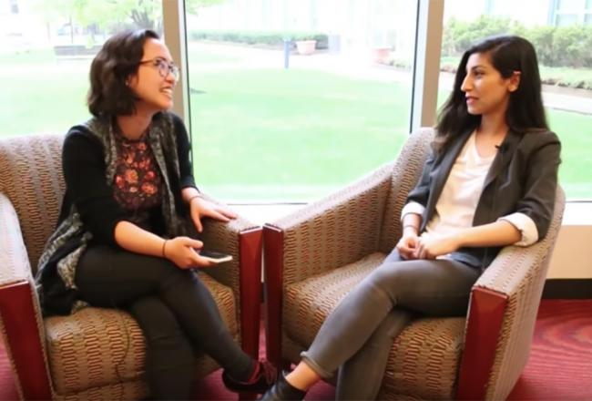 Two international students sit down and discuss the international student experience at Simmons University.