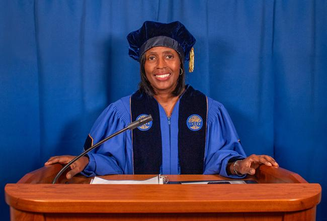 President Lynn Perry Wooten at Convocation