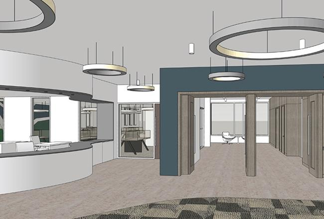 rendering of the new library lobby after construction