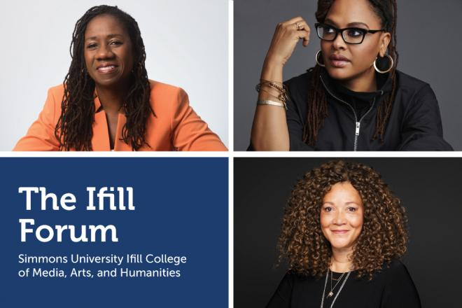 Watch the 2020 Ifill Forum: Facing Hard Truths. Headshots of Sherrilyn Ifill, Ava DuVernay and Michele Norris