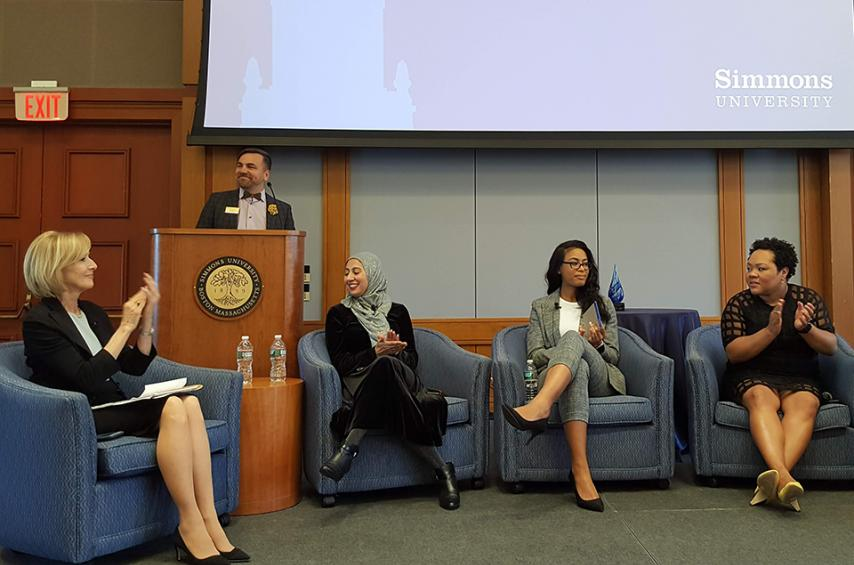 Judy Woodruff, Dean Brian Norman, Asma Khalid, Maya Valentine and Yamiche Alcindor onstage during the Ifill Forum.