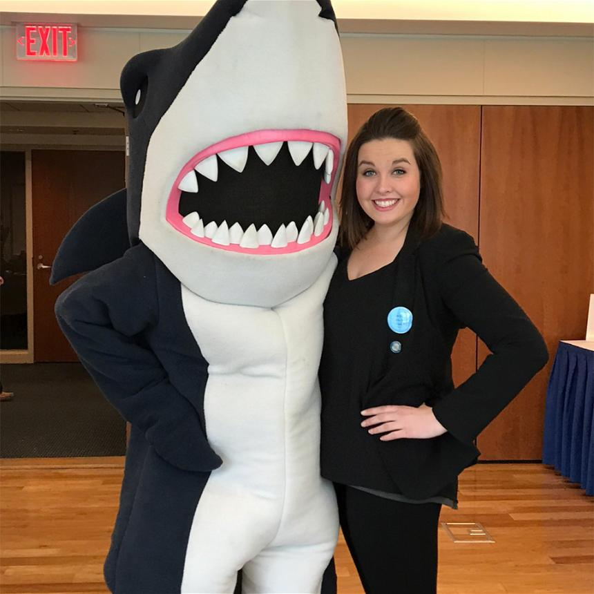Maggie Belfi with Stormy the shark