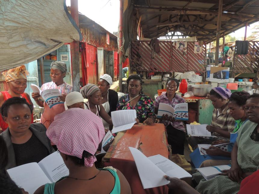 Diana with her womens group discussing content from OBOS translation.