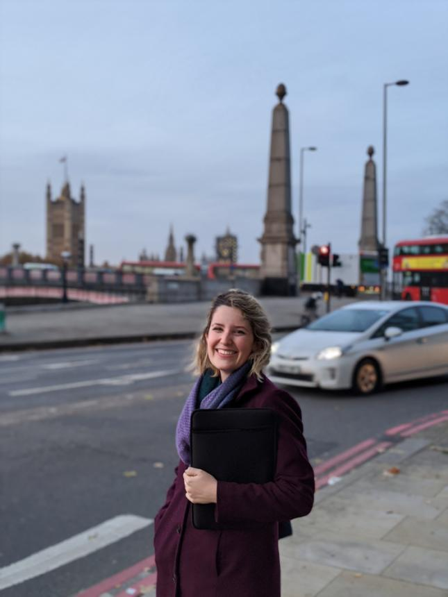 Mandi Bibbins in London while assisting with a training at the London Regional Media Hub.