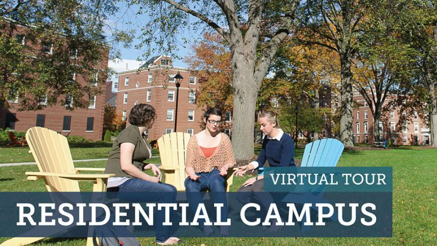 Photo of campus with text that reads Virtual Tour Residential Campus