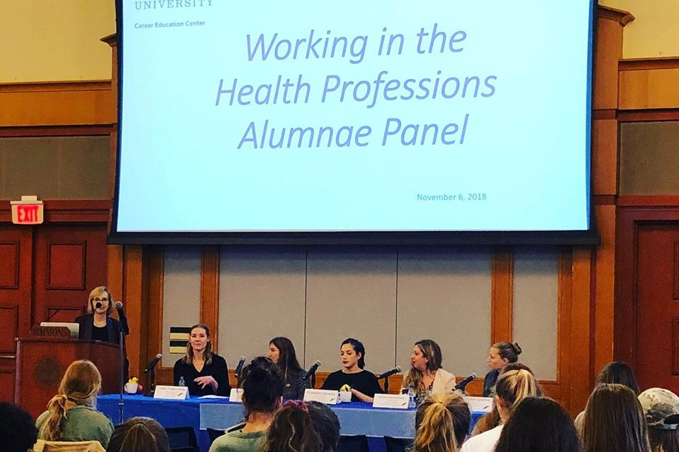 "Panelists speaking at the ""Working in the Health Professions Alumnae Panel"""
