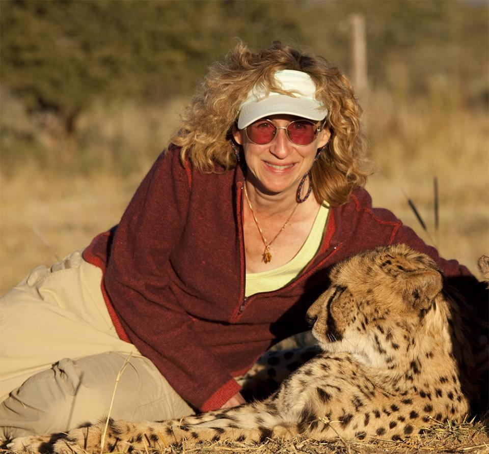 Sy Montgomery with a cheetah in Namibia. Photo credit: Nic Bishop